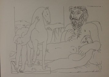 Sculptor and Sculpture of Horse Lithograph - Picasso