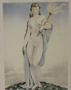 Nude Holding torch Lithograph - By Legrand