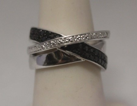 Lavish Black & White Diamonds  Silver Ring