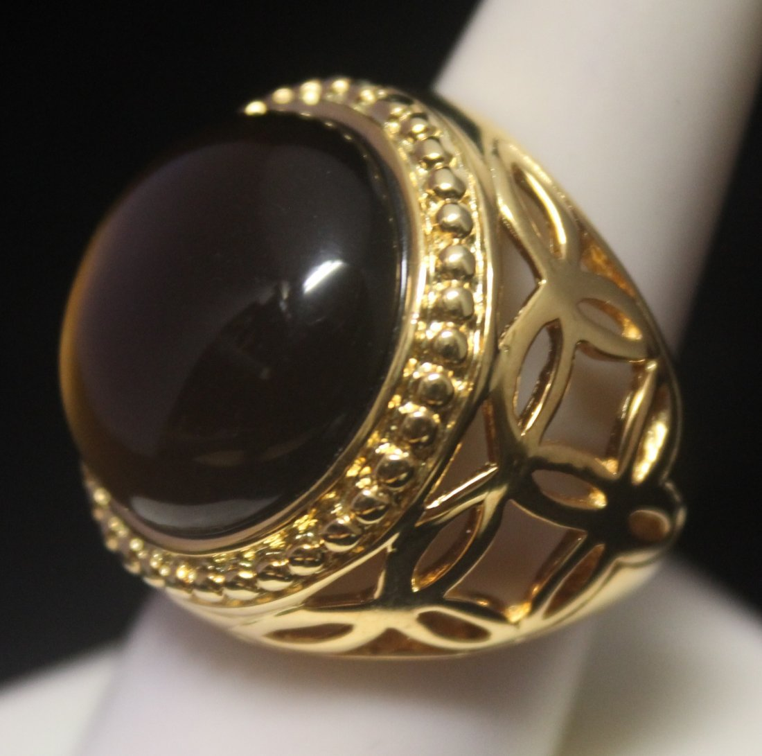 Stunning 14kt Gold over Silver Tiger Eye Ring - 2
