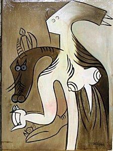 Woman Zombie 54' - Oil on Canvas - Wilfredo Lam