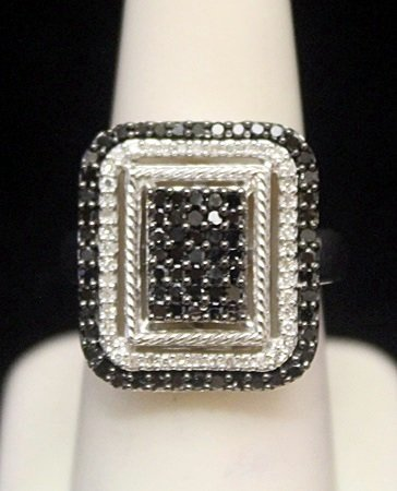 Fancy Silver Ring with Black & White Diamonds (163I)