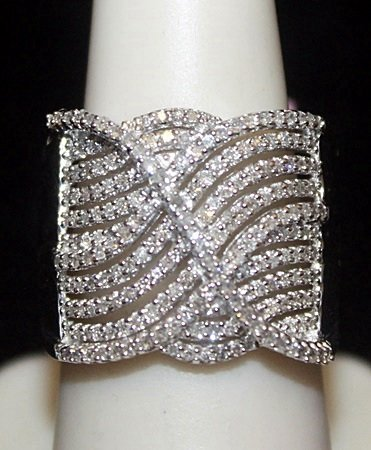 Fancy Silver Ring with Diamonds (126I)