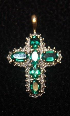 Fancy 14 kt Emerald with Diamonds Cross Pendant - 2