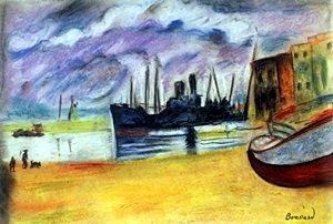 Blue Boat - Pastel Drawing on Paper - Pierre Bonnard