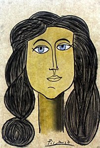 Head of a Woman - Pastel Drawing - P. Picasso