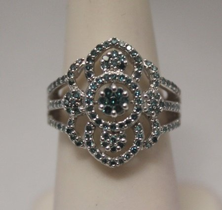 Gorgeous Blue Diamonds Silver Ring