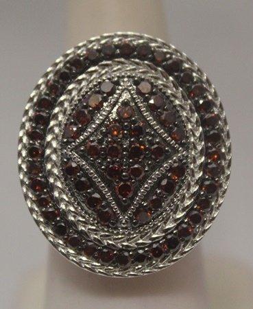 Elegant Red Diamonds Silver Ring