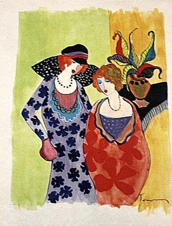 Itzchak Tarkay - Two Womans