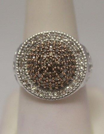 Gorgeous Champagne & White Diamonds Silver Ring