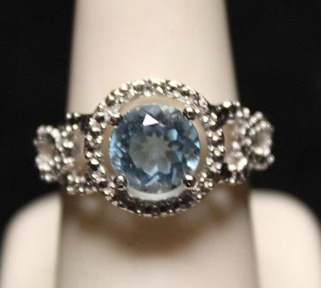 Fancy Blue Topaz with Diamonds SS Ring