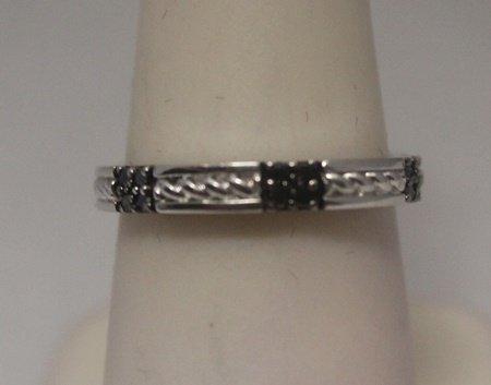 Elegant Black Diamonds Silver Band