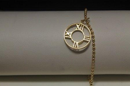 Exquisite 14kt Gold over Silver Roman Numeral Bracelet