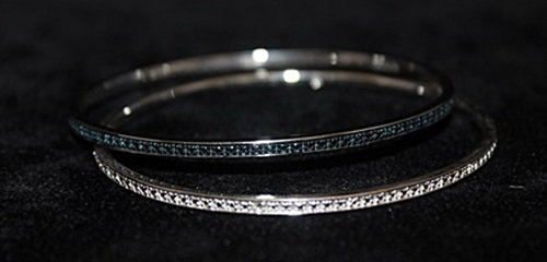 Gorgeous Silver Double Bangles with Lab Alexandrites &
