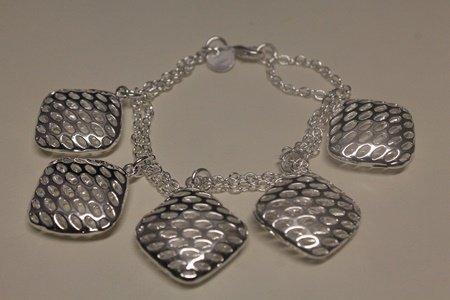 Fine Dangling Chic Silver Bracelet (55B)