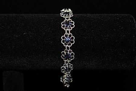 Dazzling Flower Sapphire Silver Bracelet