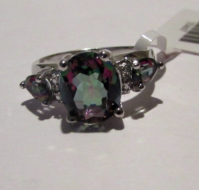 Silver Lab Alexandrite & Diamond Ring