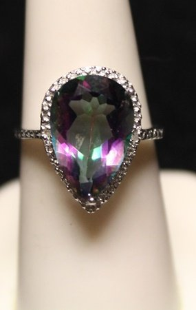 Fancy Pear Shape Lab Alexandrite with Diamonds SS Ring