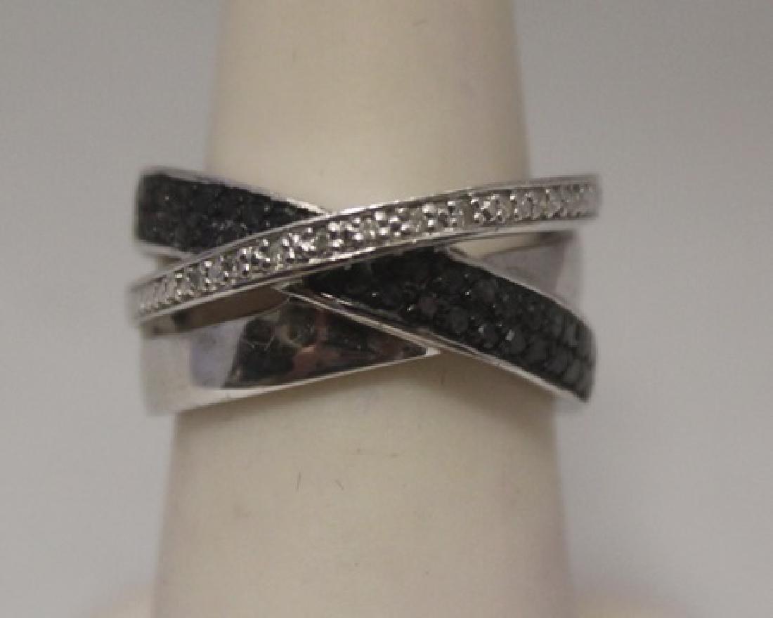 Exquisite Black & White Diamonds Silver Ring