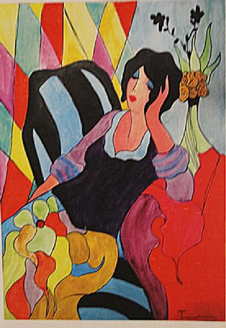 Itzchak Tarkay - The Girl With The Green Vase
