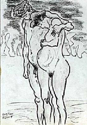 The Lovers - Drawing - Gustav Klimt