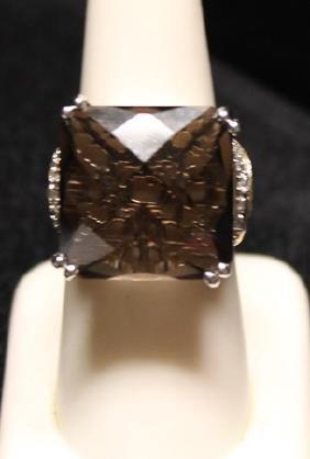 Very Fancy Smokey Quartz with Diamonds SS Ring