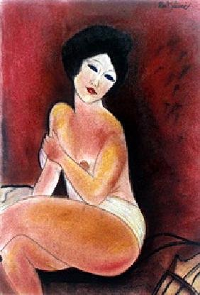 Nude 1919' - Pastel Drawing on Paper - A. Modigliani