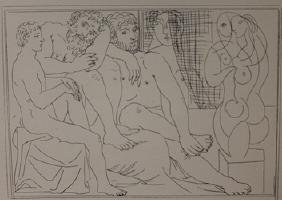 two Sculptors with male and female model lithograph -