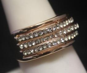 Elegant 14kt Rose Gold over Silver White Sapphire Ring