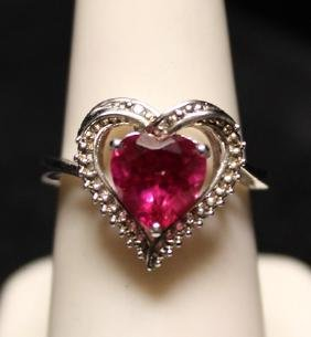 Gorgeous Heart Shaped Lab Ruby & Diamonds SS Ring