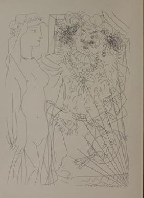 Standing Nude With Flowers - Lithograph  -  picasso