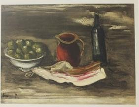 Still life with Bacon - Lithograph  -  Maurice de