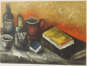 Still life with a wisky bottle - lithograph -  Maurice