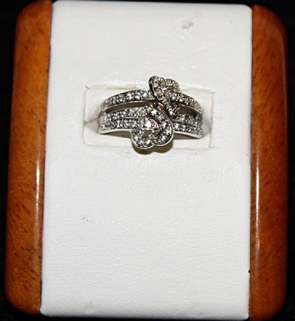 Beautiful Peridots & White Sapphire Silver Ring.