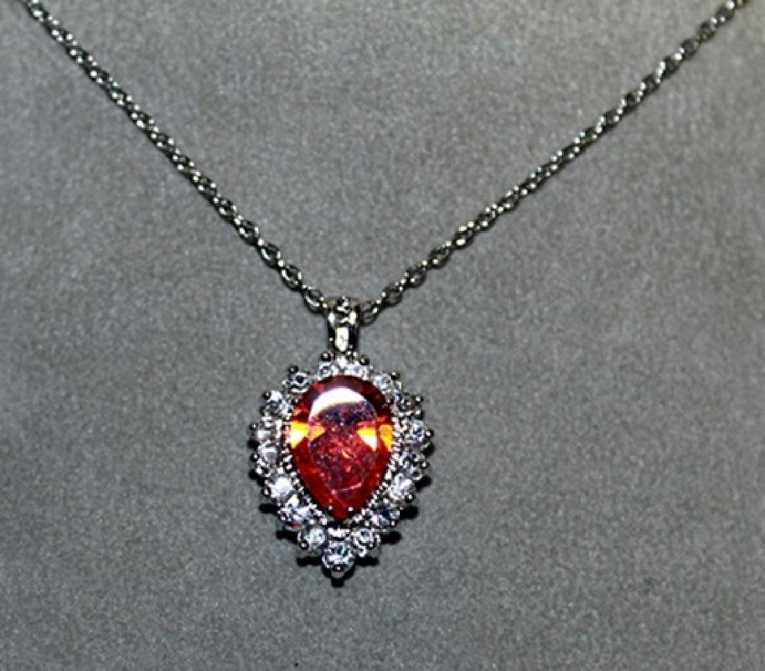 Lady's Fancy Orange Garnet & White Sapphires Necklace.