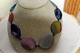 AMETHYST, AMBER,CITRINE,JADE AND SODALITE NECKLACE