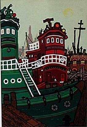 "Lithograph ""Tugboats""  Edward Sokol"