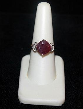 Lady's Fancy Pigeon Blood Ruby with Diamonds Gold Ring.