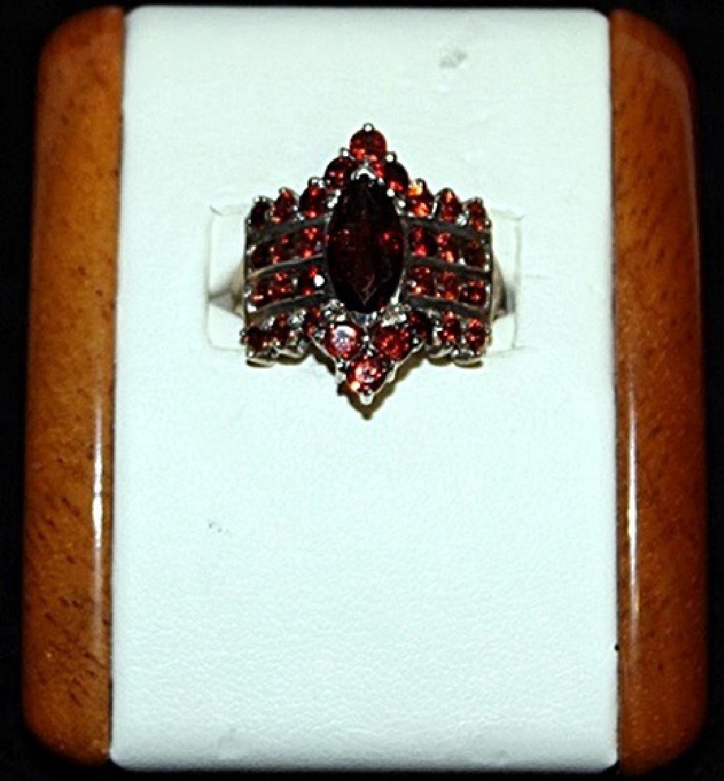 Beautiful Antique Rose Garnet Silver Ring.