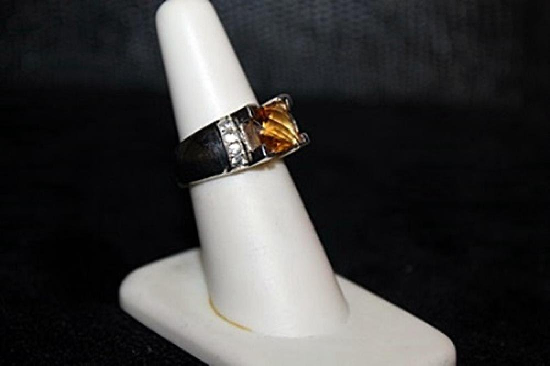 Fancy Citrine and White Sapphire Ring. (302J)