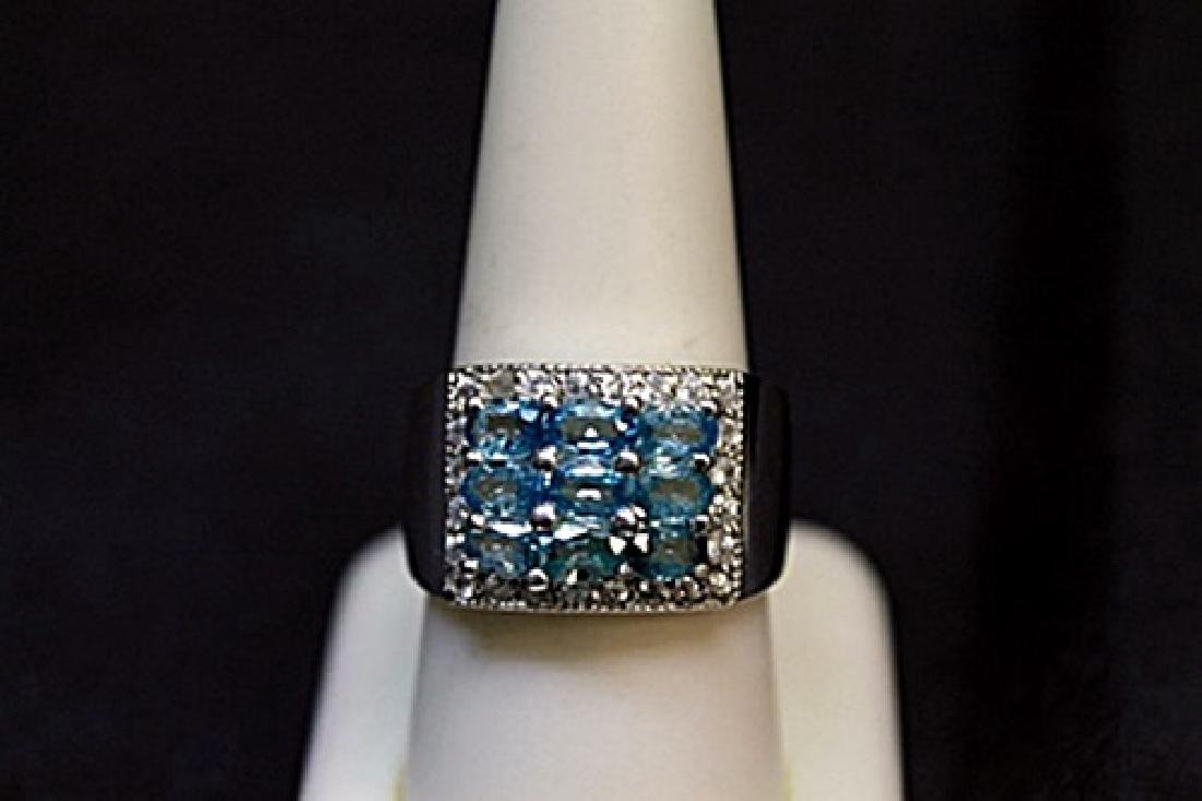 Lady's Fancy Blue Topaz & White Sapphire Ring (105R)