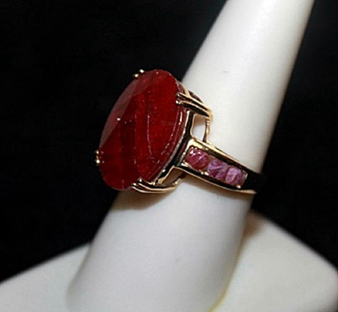 Unisex Pigeon Blood Rubies Gold Ring. - 2