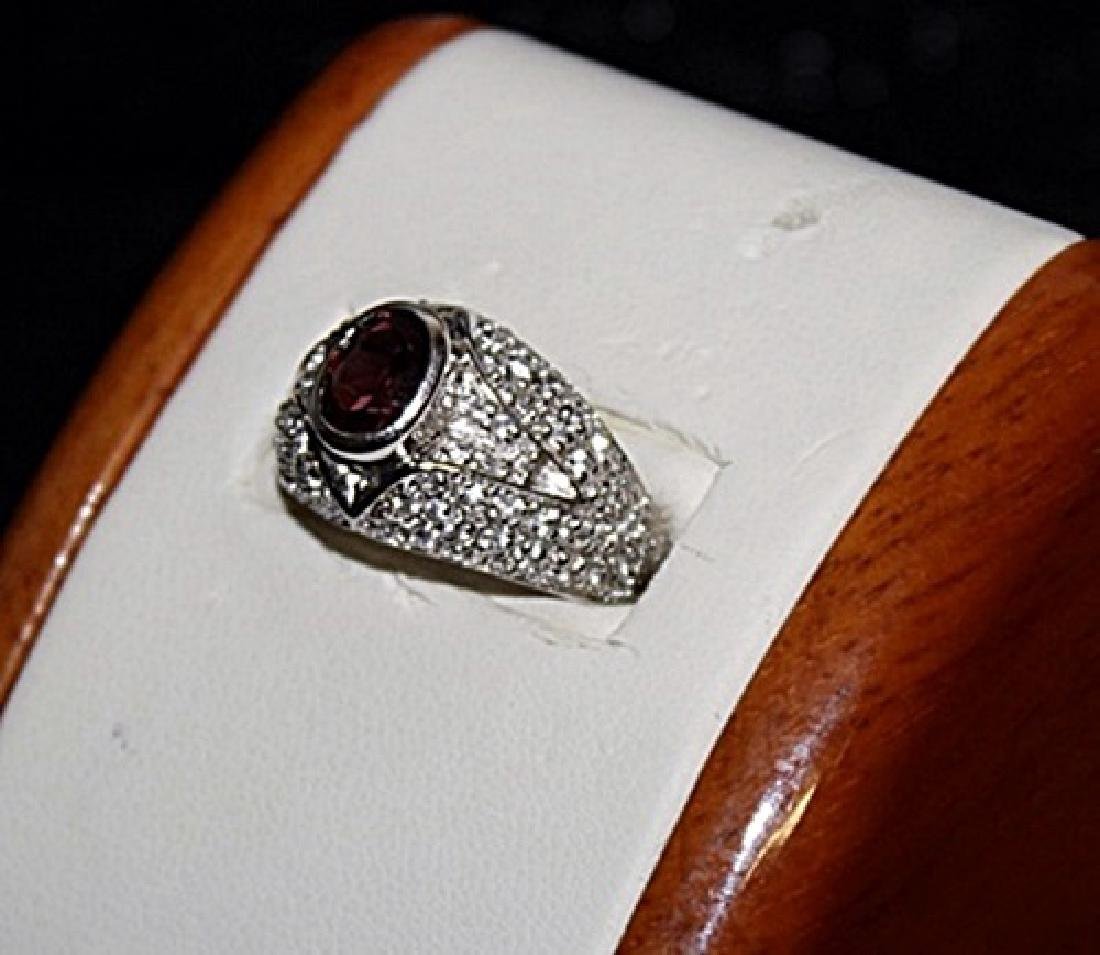 Very Fancy Ruby with White Sapphires Silver Ring. - 2