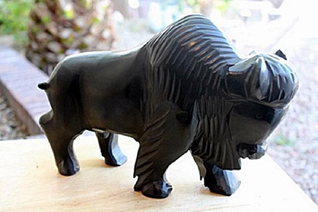 Black Onyx Buffalo Sculpture by Gabino (N)