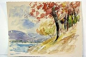 After Maurice Braun  Original Watercolor on Paper -