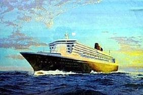 """Lithograph """"Queen Mary 2"""""""