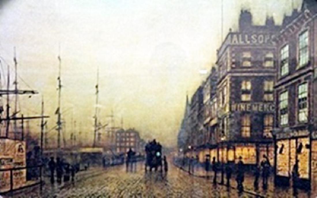 "Lithograph ""Liverpool Quay  Moonlight""  Atkinson"
