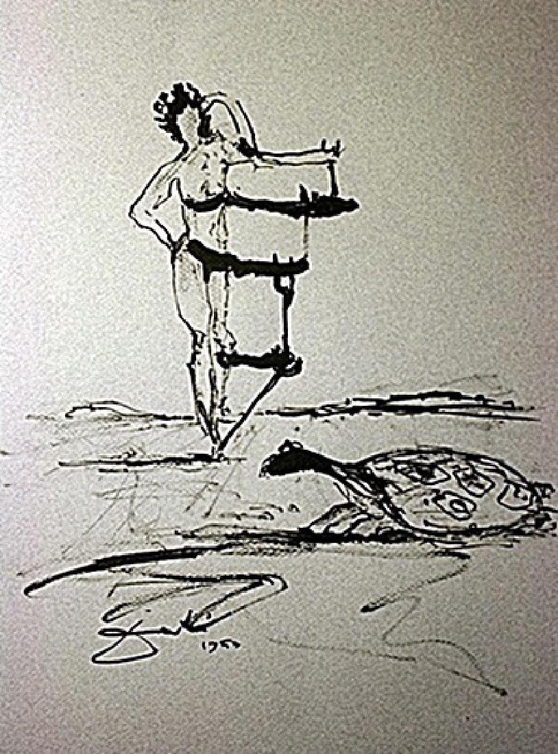 Original Hand Draw, Ink Drawing  Signed  Dali - Tortise