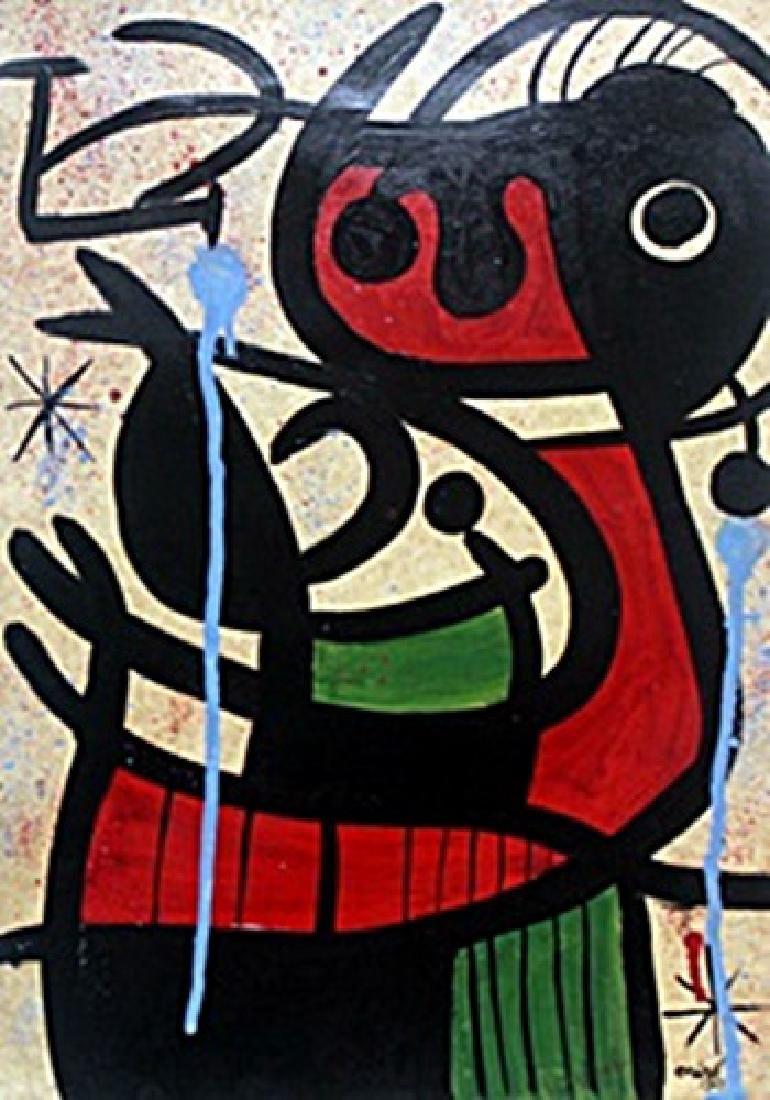 La Nina Con Bolso - Oil Painting on Paper - Joan Miro
