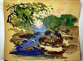 Robert Wood Original Watercolor on Paper